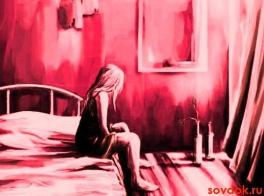 картина девушка на кровати