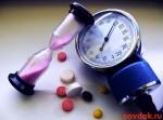 манометр, таблетки и песочные часы
