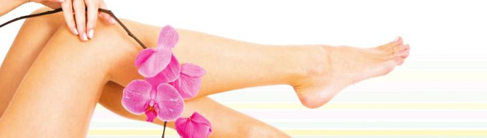Цветок орхидеи и женские ноги