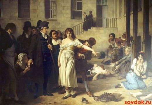 Тони Робер-Флёри Филипп Пинель освобождает душевнобольных от цепей в больнице Сальпетриер в Париже в 1795 году.