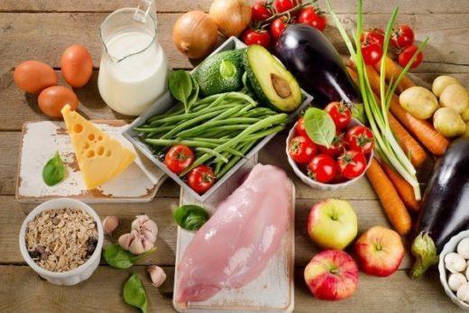 Разрешённые продукты (зелёный лук, помидоры, картофель, морковь, баклажаны, репчатый лук, яблоки, куриная грудка, яйца)