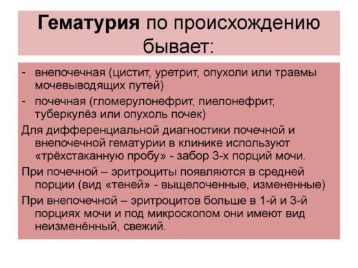 Дифференциальная диагностика при гематурии