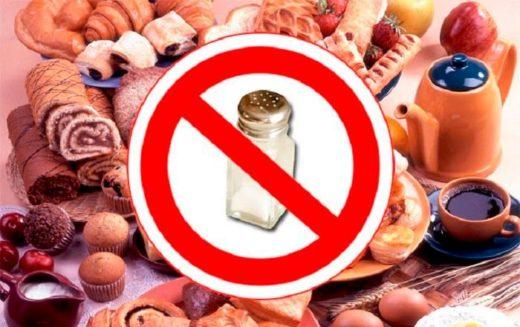 Запрещённые продукты (солонка в красном кружке, перечёркнутая косой линией; круассаны, рулет, кексы на заднем плане)